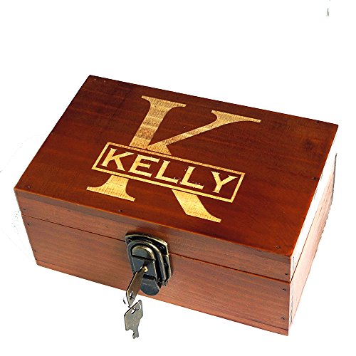 Awerise Personalized Wooden Keepsake Box w Lock Key, Custom Jewelry Box, Bridesmaid Box, Mother Girlfriend Gift