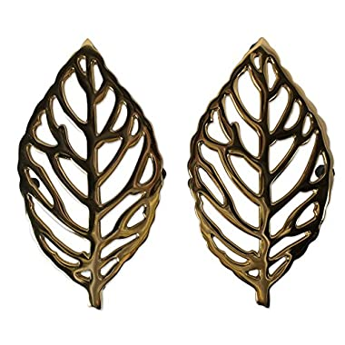 DII CAMZ10641 Cast Iron Leaf Trivet with Rubber Pegs for Hot Dishes, Kitchen Or Dining Table, 10X5.5, Gold Leaf Trivet 2 Pack