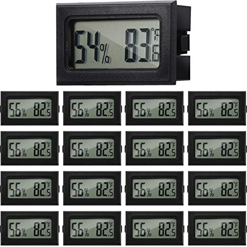 Mini Termómetro Higrómetro Medidor Digital de Temperatura y Humedad Fahrenheit Higrómetro Termómetro Interior de Pantalla LCD para Incubadoras Viviendas Invernadero Reptiles y Oficina (Negro, 16)