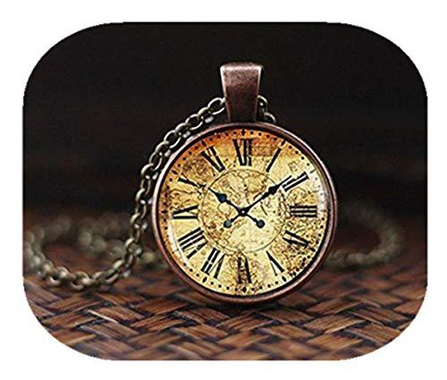 Vintage Karte Uhr Anhänger, antiker Uhr, Anhänger, Landkarte Anhänger, Antik-Uhr-Halskette, Vintage Uhr-Halskette, keine echte Uhr, ein schönes Geschenk.