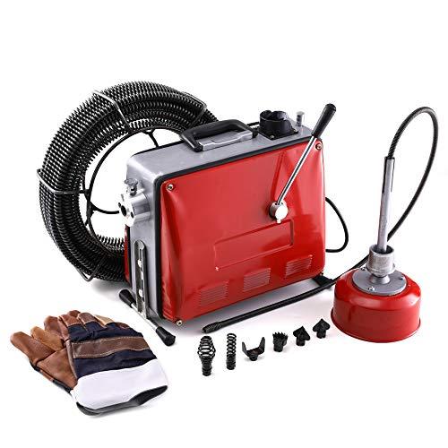 Z ZELUS Máquina de Desatascador de Tuberías 400W 400RPM Desatascador Eléctrico con Espirales Máquina de Limpieza para Tubos de 30mm a 100mm