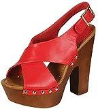 Breckelle's Rudy-13 Platform Sandals,Grapefruit Pu,7.5