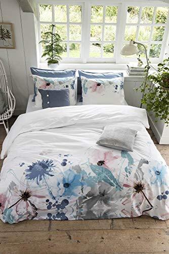 Walra Renforcé Bettwäsche 2 teilig Bettbezug 135 x 200 cm Kopfkissenbezug 80 x 80 cm Flower Fields 1204292 Weiß
