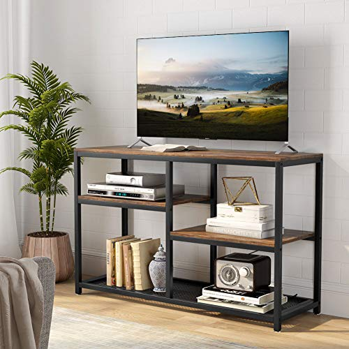 Tribesigns TV Stand, Vintage Industrial Media Stand with Net Storage Shelf, 4 ShelvesEntertainment Center Media Console Table for Living Room Bedroom,Retro Brown