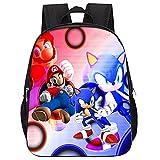 Nesloonp Sonic The Hedgehog Backpacks, Mochilas Super Mario Mochila Escolar de Dibujos Animadospara Colegio Viajes, Regalos para Niñas y Adolescentes16 zoll/Adulto / tamaño grande