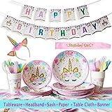 YiRAN 116 Piezas–Vajilla Diseño de Unicornio Desechable–Accesorio de Decoración de Fiesta de Cumpleaños–Pancarta,Platos, Vasos, Vajilla, Servilletas y Mantel Resistente – 16 Invitados