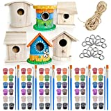 unfinished bird house - Wooden Birdhouse Kits for Kids - Pixiss 6 Pack DIY Wooden Bird Houses to Paint, Unfinished Heavy Duty Wood for Inside or Outside, Bulk Craft Kits for Kids, DIY Bird House Kit, Paint Your Own Birdhouse