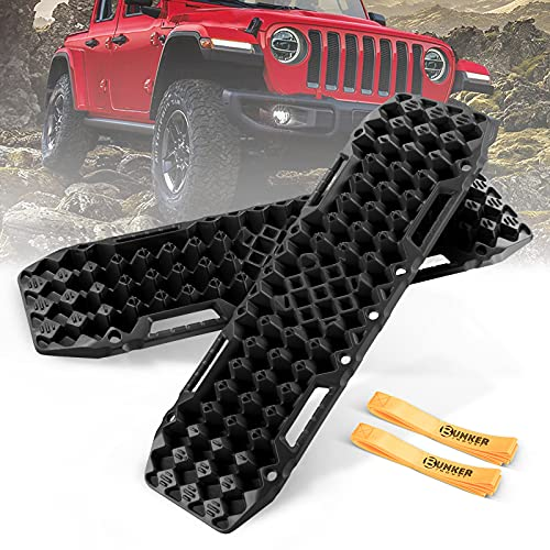 BUNKER INDUST Off-Road Traction Boards with Jack Base, 1 Pair Recovery Tracks Mat for 4X4 Jeep Truck Tire Traction-Sand,Mud, Snow Ladder Ramps(Black)