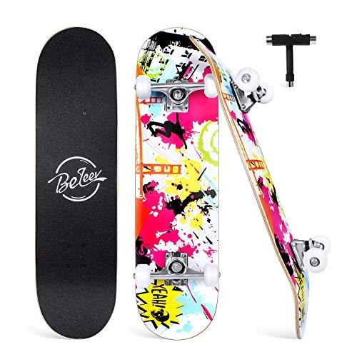 BELEEV Skateboard 31x8 inch Completo Cruiser Skateboard per Bambini, Giovani e Adulti, 7 Strati di Acero Canadese Double Kick Deck Concavo con all-in-One Skate T-Tool per Principiante (Graffiti)