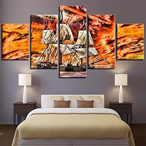 QZWXEC Leinwanddrucke 5 Pieces of Ship Canvas Oil Painting Boat Wallpaper orange Landscape Seascape Poster Abstract Picture Bedroom Shop Home Decoration Art