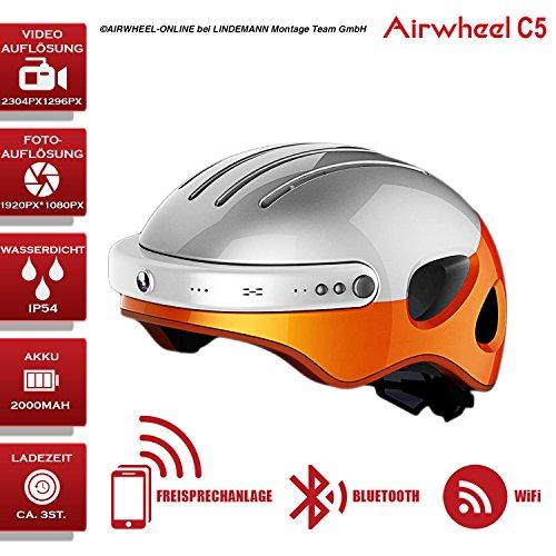 Airwheel C5 fietshelm met HD-camera, luidspreker en Bluetooth (wit-oranje) (hoofdomtrek L maat: 53-58cm)