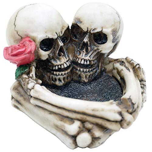 Halloween Skeleton Gifts Skull Ashtray - Lovers Never Die Resin Cigar Ash Tray Container Human Head Skull