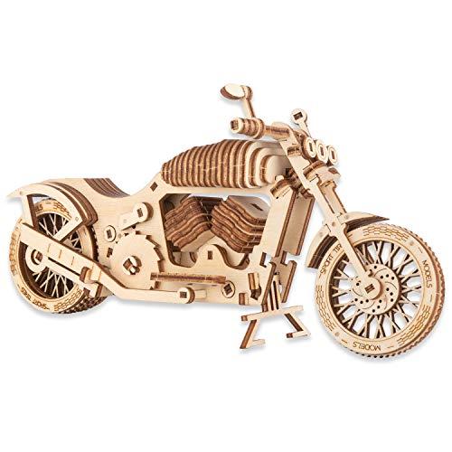 CANOPUS 3D Puzzle Hölzerne Motorrad, Holz Motorrad Puzzle Kit - Kreatives Geschenk für Erwachsene und Kinder, 3D-Puzzle-Modell Lernspielzeug, Kreatives Spielzeug, Mechanischer Motorrad Bausatz