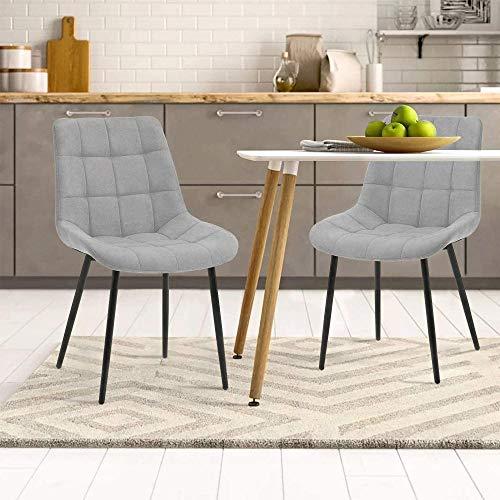 Keebgyy Juego de 2 sillas de comedor con cojín de tela, sillas auxiliares, sillas de oficina con patas de metal para comedor, salón, cocina (gris oscuro)