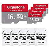 Gigastone 16GB 5-Pack Micro SD Card, Camera Plus 90MB/s, Full HD Video, U1 C10 Class 10 Micro SDHC UHS-I Memory Card, with MicroSD to SD adapter