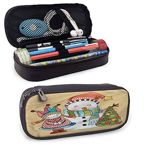 XCNGG Bolsa de papelería para estudiantes de Navidad, lindo juguete muñeco de nieve árbol duradero soporte de papelería 8 'x3.5' x1.5 '