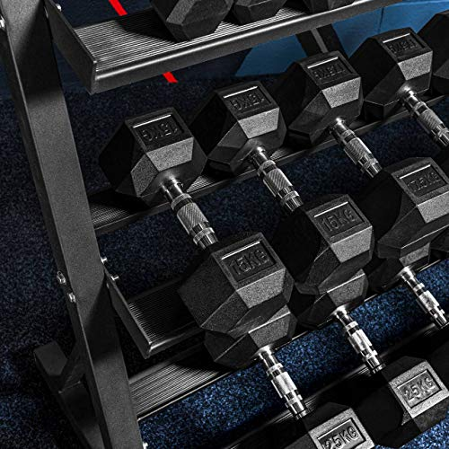 METIS Hantelablage Kurzhantel   3 Tier Gewicht Ständer aus Stahl für Fitnesscenter und Heimgebrauch   Hantel Halter nur oder Fitness Rack & Hexagon Kurzhantel-Set (Hantelständer & Kurzhantel Set)