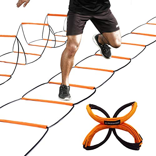 All-in-One Agility Ladder and Speed Hurdle Workout Ladder and Soccer Basketball Football Training Equipment Foldable Instant Set-up and Tangle-Free Professional Design 8 Rung