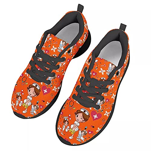 chaqlin Zapatillas deportivas para mujer, informales, deportivas, para gimnasio, caminar, tenis, zapatos de correr ligeros, color Naranja, talla 38 EU
