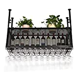 RUXMY Weinschrank Doppelschicht Wandregal Decke Weinflasche und Brillenhalter, Metall Eisen Gitter...