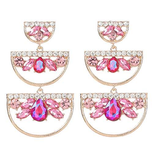 XPT Pendientes de mujer coloridos de aleación geométrica semicírculo largos colgantes para mujeres niñas rosa rojo