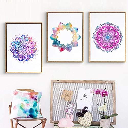 HXLZGFV Beautiful Mandala Ornament Symmetrical Pattern Poster Colorful Flower Canvas Painting Print Yoga Wall Art Pictures Home Decor-40x50cmx3pcs-No Frame