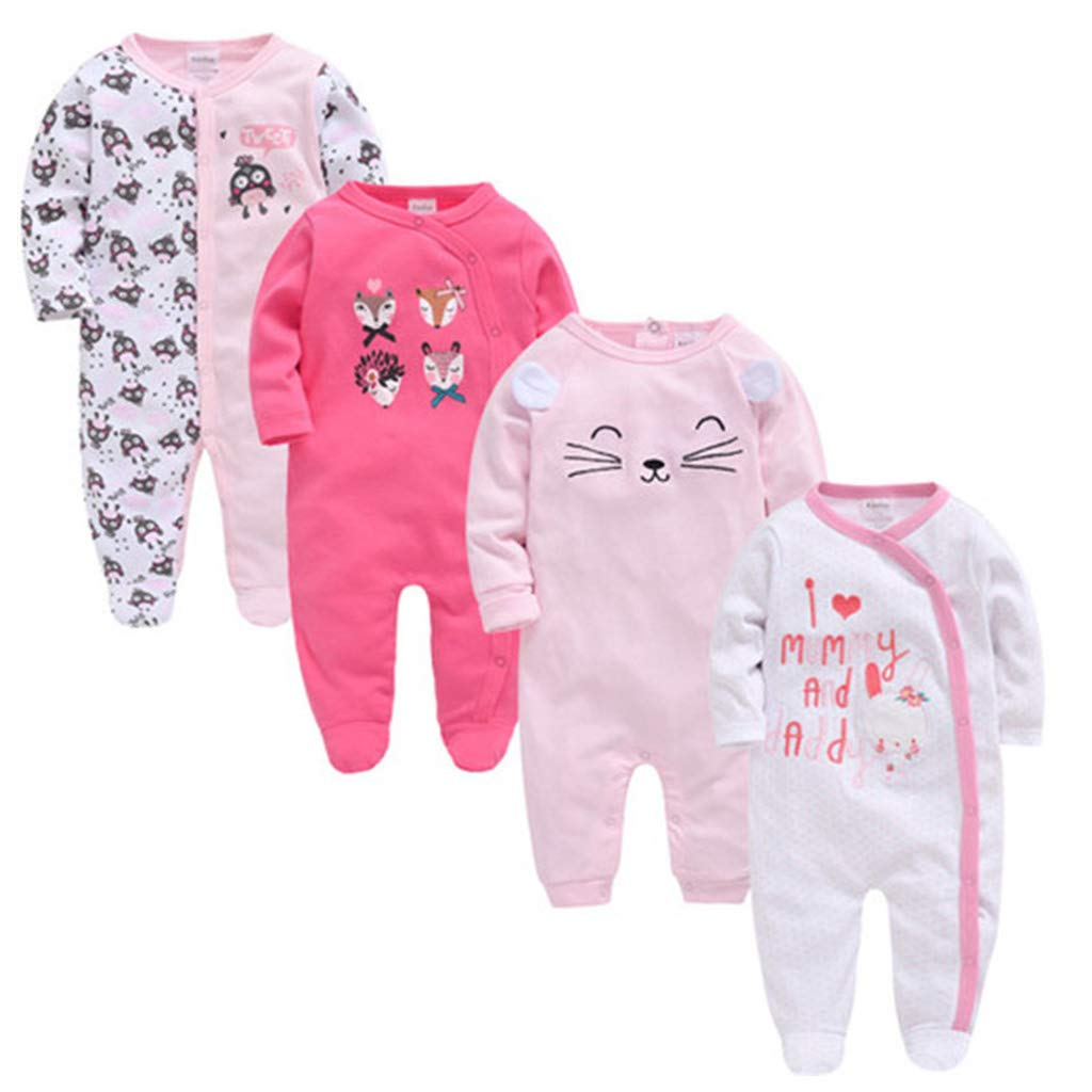 Minneapolis Mall 4 PCS Baby Pyjama Set Long Rompers Boys Girls High order Sl Overalls Sleeve