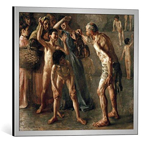 Kunst für Alle Cuadro con Marco: Lovis Corinth Diogenes Seeks an Honest Man with His Lamp During Broad Daylight - Impresión artística Decorativa con Marco, 55x45 cm, Plata cepillada