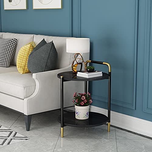 HLSUSAN Unique Stylish High Gloss Stainless Steel Small Side Table or Coffee Table Perfect For your Living Room and Bedroom,B