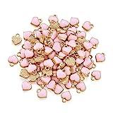 Cheriswelry 100 colgantes de aleación con forma de corazón rosa esmaltado, chapados en oro, para joyería, pulseras, collares, pendientes,...