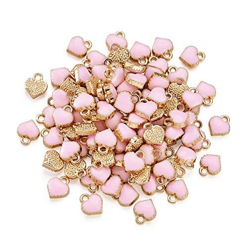 100 colgantes de esmalte de aleación de corazón rosa de 8 x 7,5 x 2,5 mm chapado en oro claro mini corazón colgante colgantes para pulsera, collar, pendientes, suministros de joyería, agujero: 1,5 mm