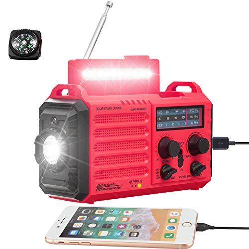 Radio Meteorológica de 5 Vías para Emergencias Domésticas al Aire Libre, Radio Portátil NOAA/Am/FM/SW y Alarma SOS, Energía Solar, Manivela de Dinamo Manual, Linterna, Lámpara de Campamento, Brújula
