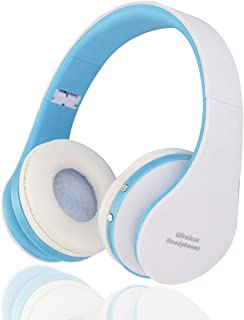 BGVIP New Over Ear Bluetooth Headset Wireless Hi-Fi Stereo Surround Sound with Built-in Mic and Wired Mode for PC/Cell Phone/TV (White-Blue)