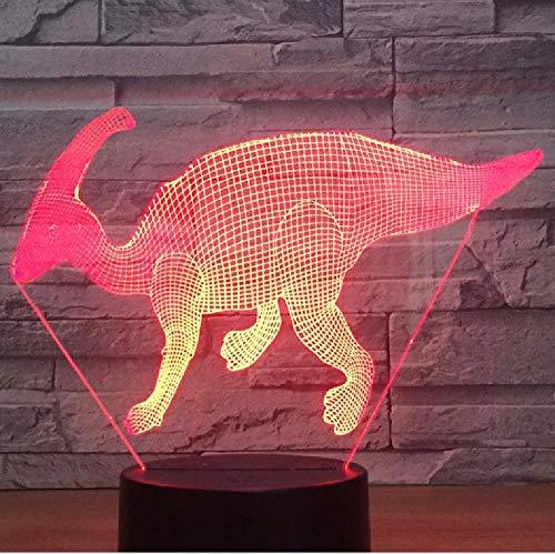 Luz De Noche Led 3D Dinosaurio Parasaurolophus Viene Con Luz De 7 Colores Para Lámpara De Decoración Del Hogar Visualización Increíble Óptica