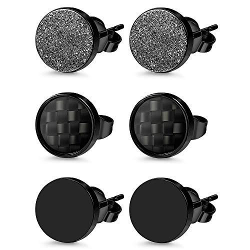 Jstyle 3 Pairs Stainless Steel Stud Earrings for Men Women Black Carbon Fiber Pierced 10MM