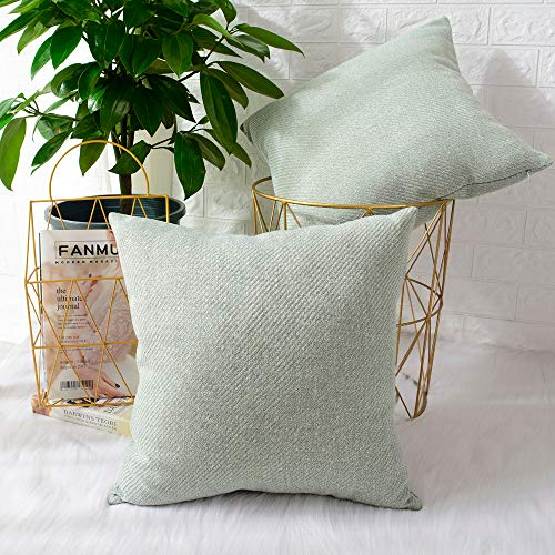MERNETTE New Year/Christmas Decorations Chenille Soft Decorative Square Throw Pillow Cover Cushion Covers Pillowcase, Home Decor for Party/Xmas 20x20 Inch/50x50 cm, Light Green, Set of 2
