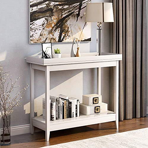 PAKUES-QO 2 Drawers Console Table Side End Table Shelf Storage Wooden Entryway Table For Living Room Hallway Bedroom - White