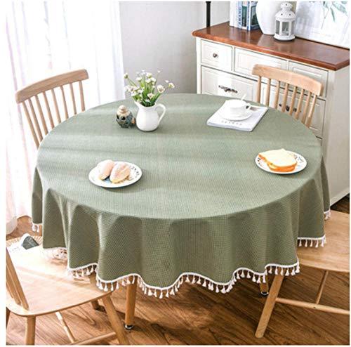 Yiiuii Gartenhaus Blau Weiß Große Runde Tischdecke Tischdecke, Grüne Kleine Karierte Baumwolle Und Leinen Runde Tischdecke Couchtisch-150Cm