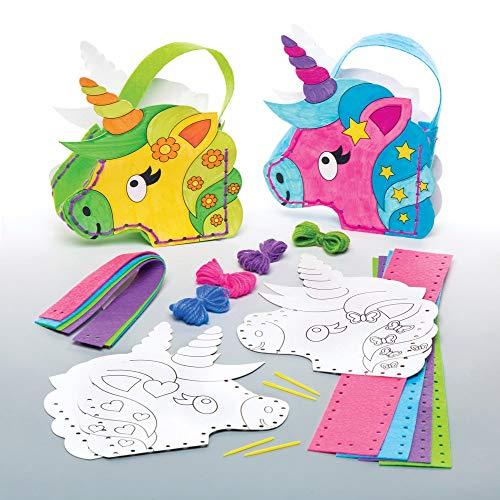 Baker Ross Kit da Cucito Borsetta Unicorno da colorare per Bambini (Confezione da 4) - Creazioni Fai da Te per Bambini da Cucire e Decorare