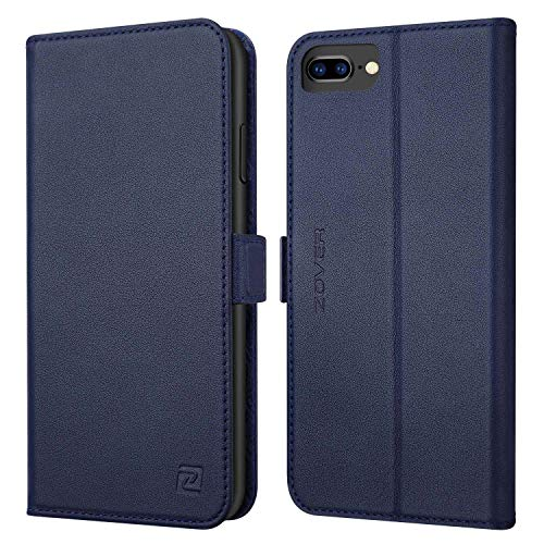 ZOVER iPhone8 plus / 7 plus / 6 plus / 6s plus ケース 手帳型 サイドマグネット式 本革 RFIDブロッキング カバー 全面保護 スタンド機能 カード収納 耐汚れ 耐衝撃 ギフトボックス (5.5インチ用 ネイビー)Navy Blue