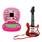 ANG Educational English Learner Computer Laptop for Kids&ANG Rock Band Musical Plastic Guitar for Kids(Product Color May Vary depending Upon Availability)