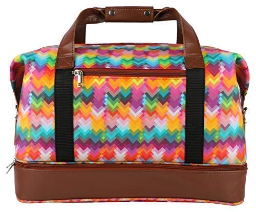 Scentia 36 Liter Faux Leather Duffel Tote Gym Travel Bag (Multi-Coloured)