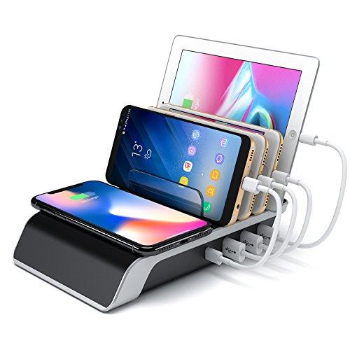 METBOM Estación de Carga inalámbrica USB Dock - Cargador rápido de 4 Puertos, Cargador inalámbrico Compatible con iPad iPhone y teléfono móvil y Tableta de Android