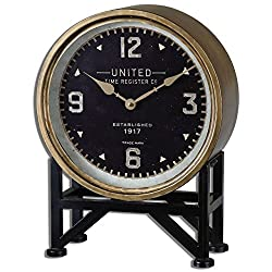 Intelligent Design Retro Brass Black Round Table Clock | Mantel Metal Vintage