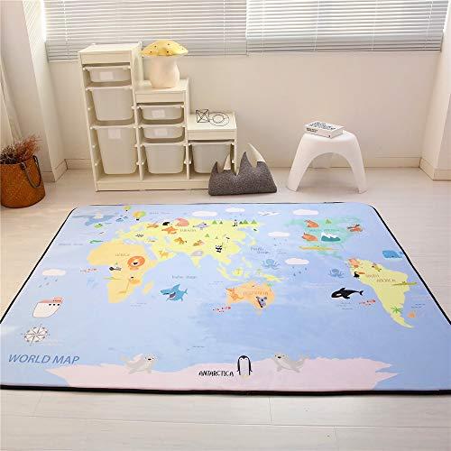 Zinsale Grande Addensare Baby Playmat Velluto a Crescita lenta Palestra del Pavimento Asilo Nido Pad attività Tappeto strisciante (Mappa del Mondo)