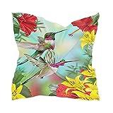 Linomo Bufanda de seda de gasa para mujer con flores florales, colibrí pájaro, mantón cuadrado, seda como bufanda
