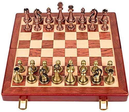 YZ-YUAN Juegos Casuales Accesorios para el hogar Juego de ajedrez de Madera/Cuero Aveo con Piezas de ajedrez Tablero de Juego Plegable con Almacenamiento Ajedrez para Juegos de Viaje Juguetes Rega