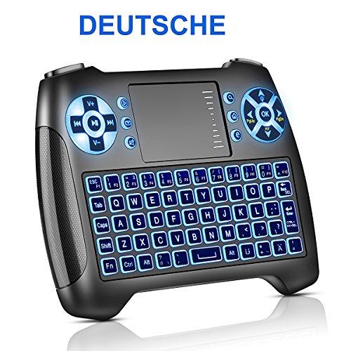 Mini Tastatur mit Touchpad Beleuchtet, Deutsch Funktastatur mit Maus, 2.4GHz QWERTY Keyboard Kabellos, Wireless Tastatur USB Fernbedienung, für Smart TV, HTPC, IPTV,Android TV Box,XBOX360,PS3