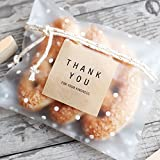 White Dots Self Adhesive Plastic Cookie Bags for Gift Giving 200 Bags+200 Thank You Labels (L)