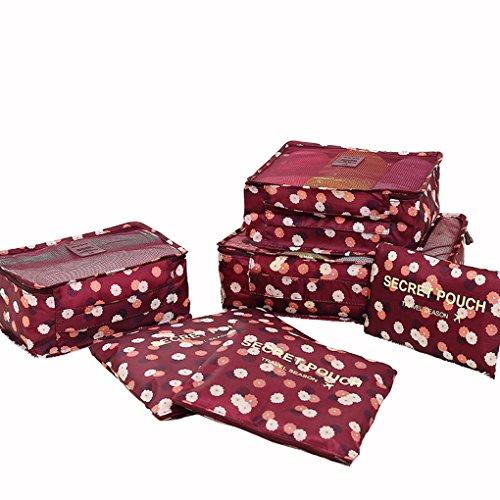 Set Confezione Borse valigetta Organizer Borsa da viaggio sacchetto kleidertasche Cultura Custodia Borsa per scarpe floreale valigetta Organizer Borsa di stoccaggio in nylon bluchen, rosso vivo, Large